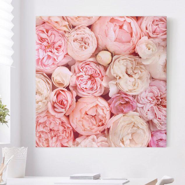 Leinwandbild - Rosen Rosé Koralle Shabby - Quadrat 1:1