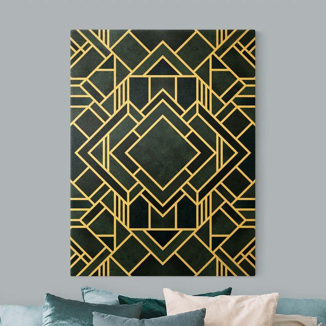 Leinwandbild Gold - Goldene Geoemetrie - Art Deco Blau - Hochformat 3:4