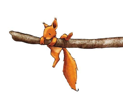 Wandtattoo Wald Babyzimmer Einhörnchen, halt dich fest!