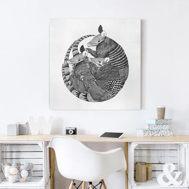 Leinwandbild - Illustration Gürteltiere Schwarz Weiß Muster - Quadrat 1:1
