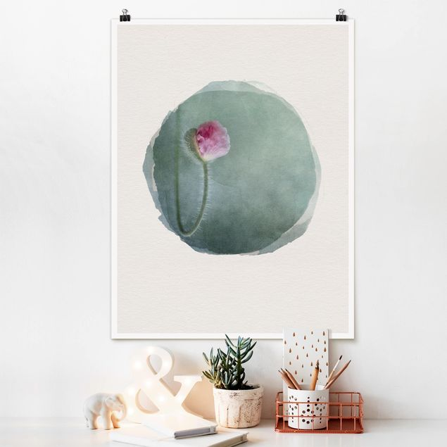 Poster - Wasserfarben - Blüte in Rosa - Hochformat 4:3