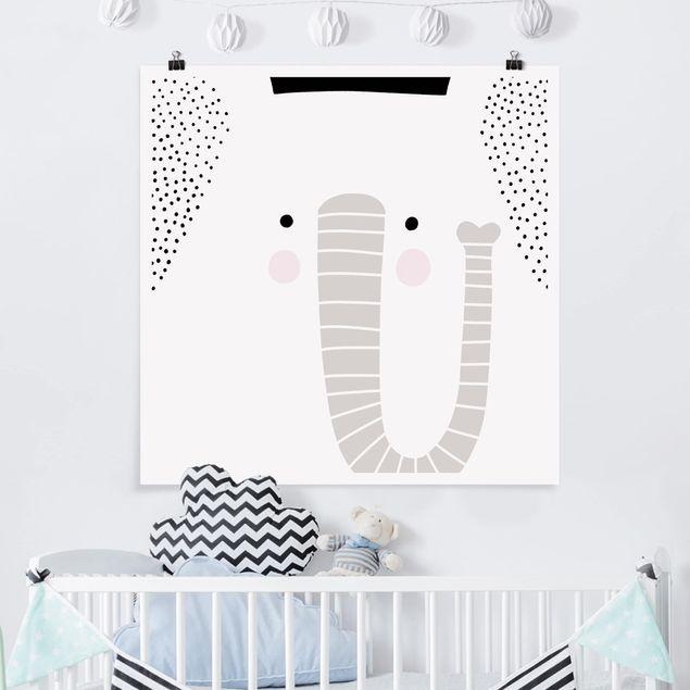 Poster - Tierpark mit Mustern - Elefant - Quadrat 1:1