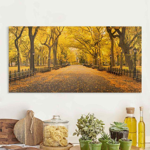 Leinwandbild - Herbst im Central Park - Querformat 2:1