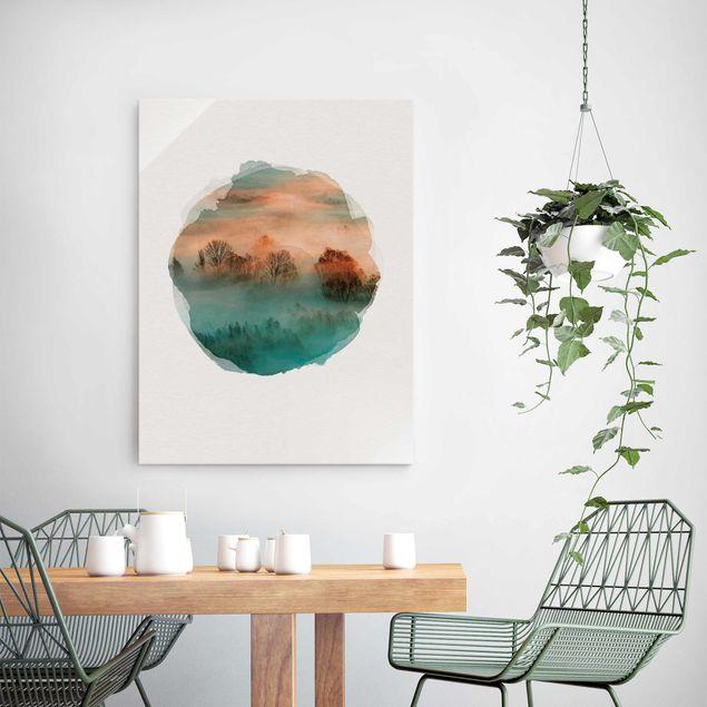 Glasbild - Wasserfarben - Nebel bei Sonnenaufgang - Hochformat 4:3