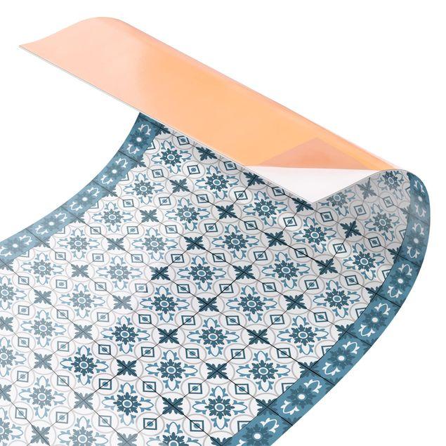 Küchenrückwand - Geometrischer Fliesenmix Blume Blaugrau
