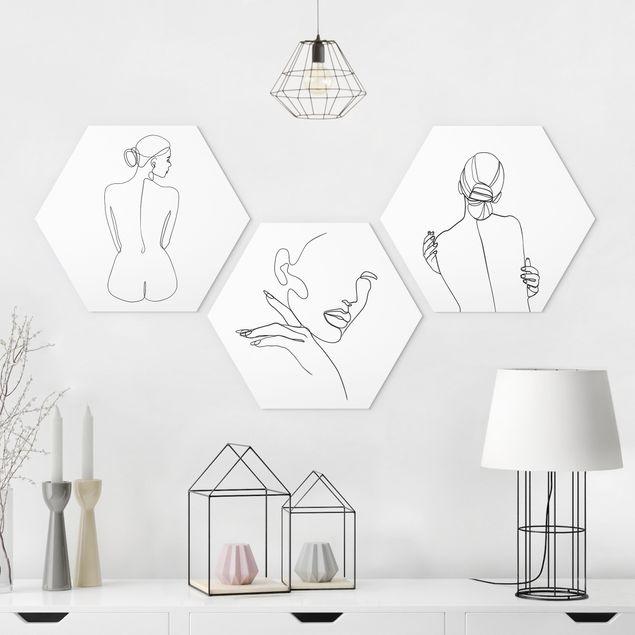 Hexagon Bild Alu-Dibond 3-teilig - Line Art Frauen Akt Schwarz Weiß Set