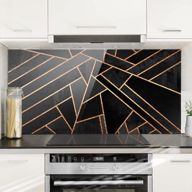 Spritzschutz Glas - Schwarze Dreiecke Gold - Querformat 1:2