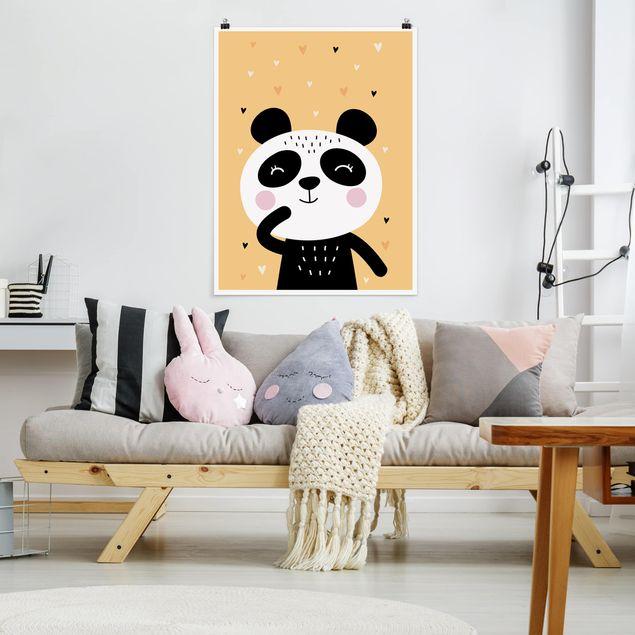 Poster - Der glückliche Panda - Hochformat 3:4