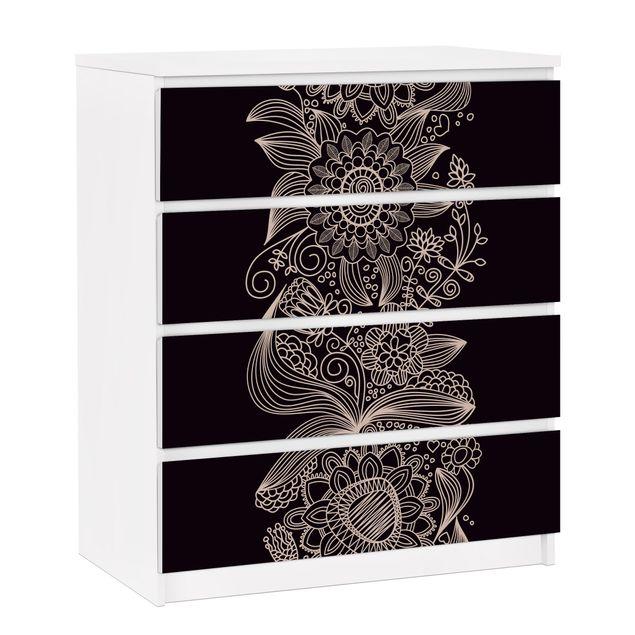 Möbelfolie für IKEA Malm Kommode - selbstklebende Folie Lovely Floral Background