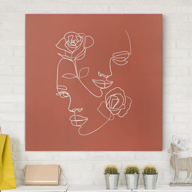 Leinwandbild - Line Art Gesichter Frauen Rosen Kupfer - Quadrat 1:1