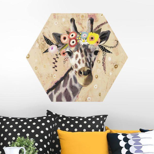 Hexagon Bild Alu-Dibond - Klimt Giraffe