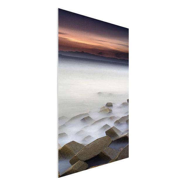 Forex Fine Art Print - Sonnenuntergang im Nebel - Hochformat 3:2