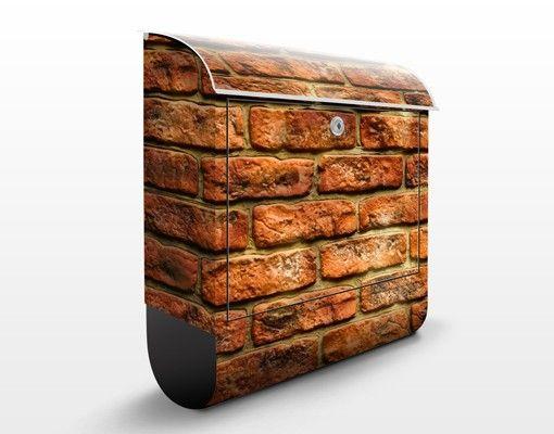 Briefkasten Steinoptik - Bricks - Briefkasten mit Zeitungsrolle
