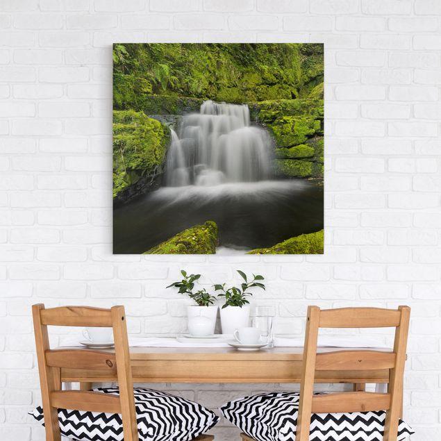 Leinwandbild - Lower McLean Falls in Neuseeland - Quadrat 1:1