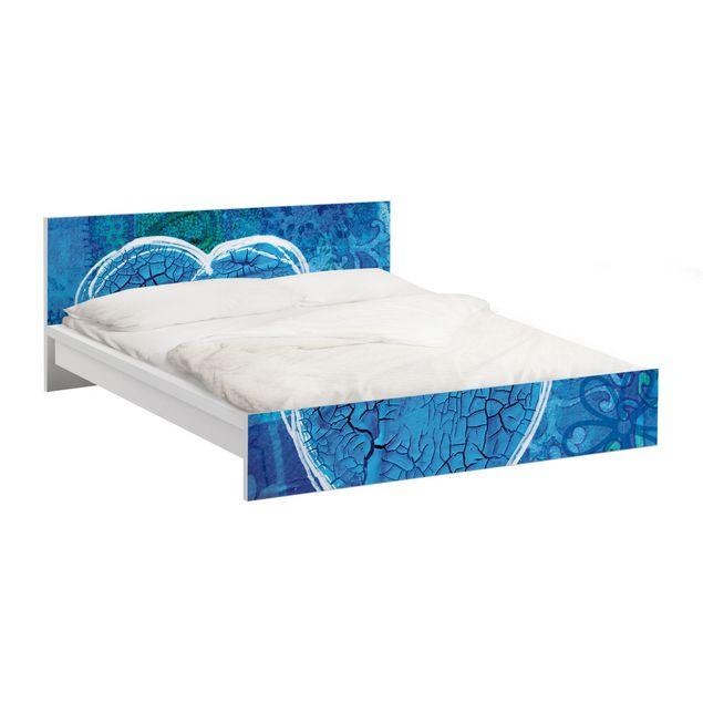Möbelfolie für IKEA Malm Bett niedrig 160x200cm - Klebefolie Terra Azura