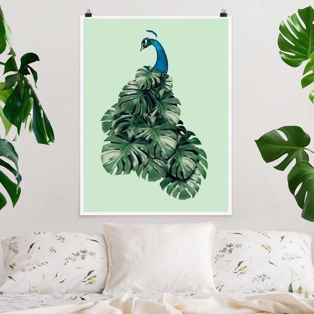 Poster - Jonas Loose - Pfau mit Monstera Blättern - Hochformat 3:4