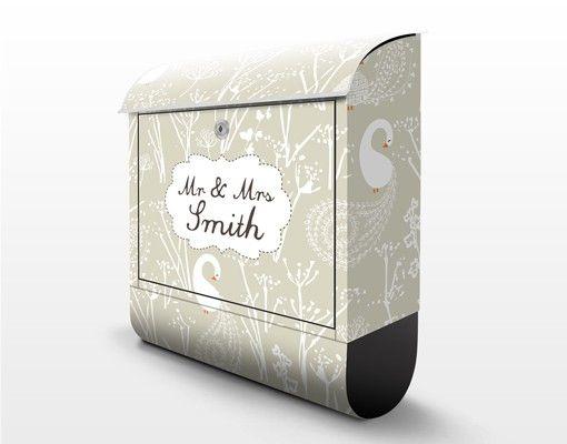 Briefkasten mit Zeitungsfach - Wunschtext Swan Lake