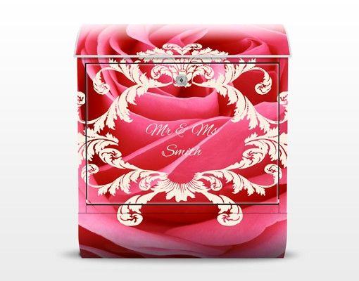 Briefkasten mit Zeitungsfach - Wunschtext Lustful Pink Rose