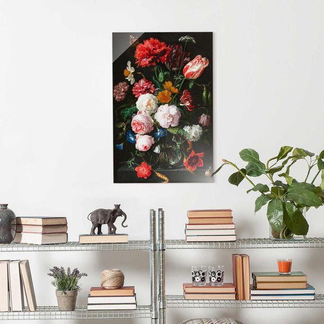 Glasbild - Jan Davidsz de Heem - Stillleben mit Blumen in einer Glasvase - Hochformat 3:2