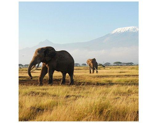 Beistelltisch - Elefanten vor dem Kilimanjaro in Kenia