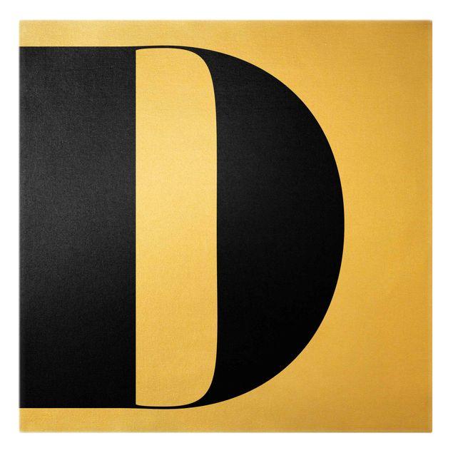 Leinwandbild Gold - Antiqua Letter D - Quadrat 1:1