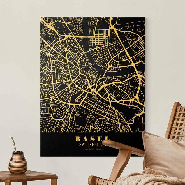Leinwandbild Gold - Stadtplan Basel - Klassik Schwarz - Hochformat 3:4
