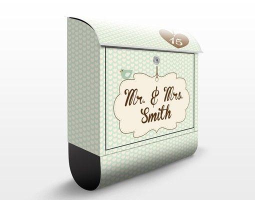 Briefkasten Vintage - No.FB207 Wunschtext Vintage Hearts Mint Grün