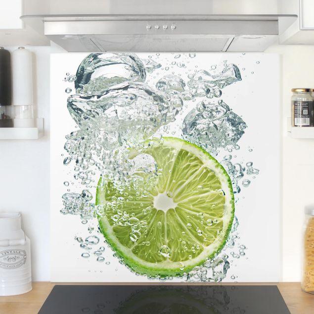 Glas Spritzschutz - Lime Bubbles - Quadrat - 1:1
