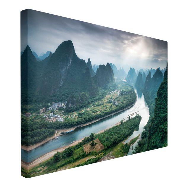 Leinwandbild - Talblick über den Li-Fluss - Querformat 3:2