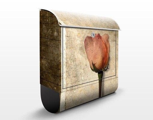 Briefkasten Vintage - Inner Rose - Briefkasten Beige mit Zeitungsrolle