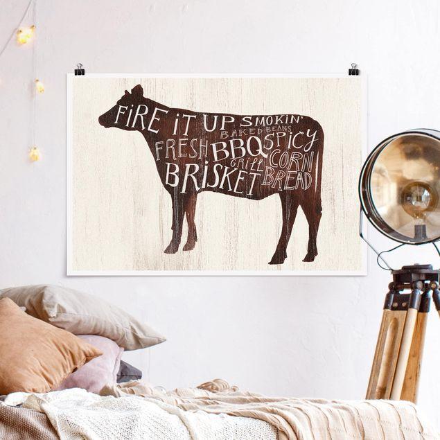 Poster - Bauernhof BBQ - Kuh - Querformat 2:3