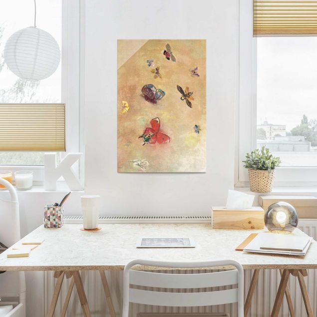 Glasbild - Odilon Redon - Bunte Schmetterlinge - Hochformat 3:2