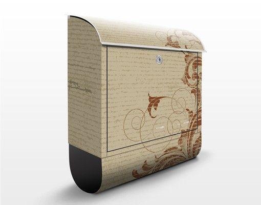 Briefkasten Vintage - Laubranken - Briefkasten Beige mit Zeitungsrolle