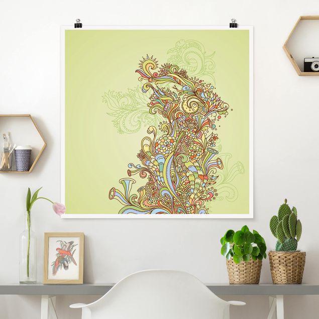 Poster - Florale Illustration - Quadrat 1:1