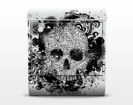 Wandbriefkasten - Skull - Briefkasten Schwarz-Weiß