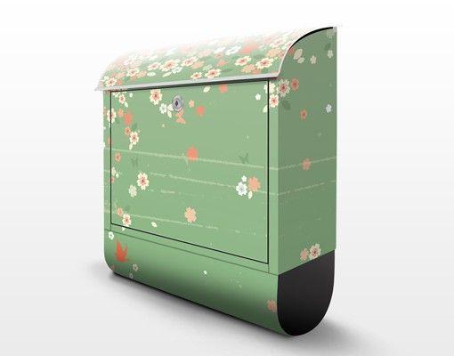 Briefkasten mit Zeitungsfach - No.EK236 Spring Background - Blumen Grün