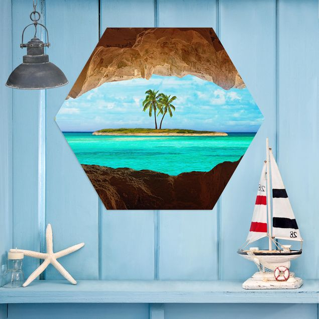 Hexagon Bild Alu-Dibond - Blick ins Paradies