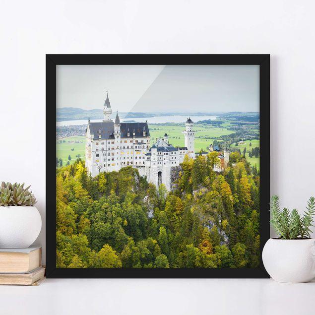 Bild mit Rahmen - Schloss Neuschwanstein Panorama - Quadrat 1:1