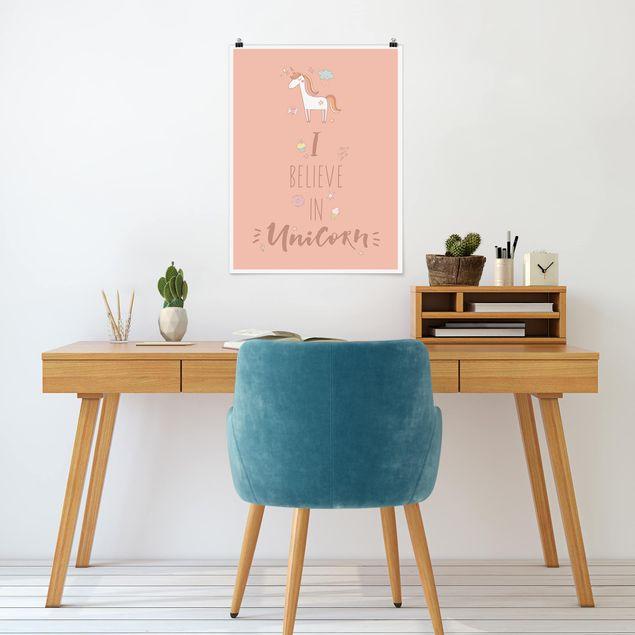 Poster - I believe in Unicorn - Hochformat 3:4