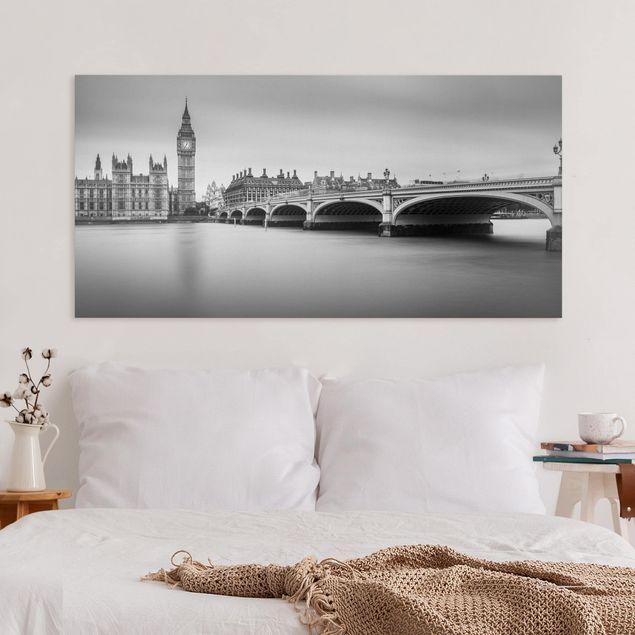 Leinwandbild - Westminster Brücke und Big Ben - Querformat 1:2