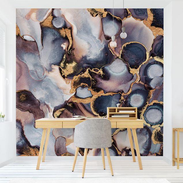 Fototapete - Marmor Aquarell mit Gold - Fototapete Quadrat
