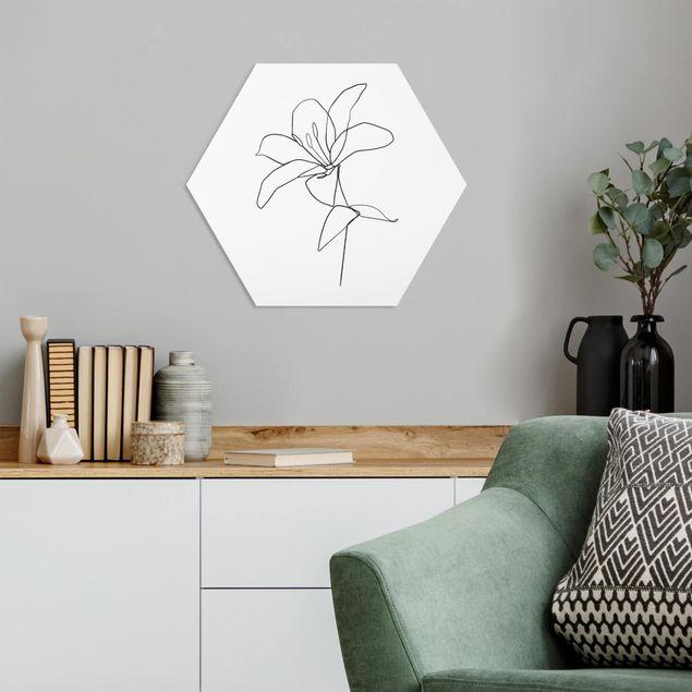 Hexagon Bild Forex - Line Art Blüte Schwarz Weiß