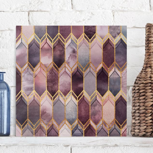 Leinwandbild - Glasmalerei geometrisch Rosé Gold - Quadrat 1:1