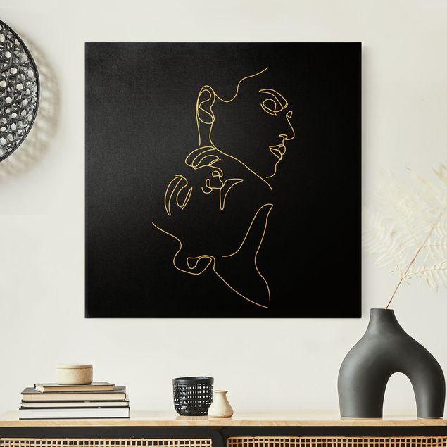 Leinwandbild Gold - Line Art Frauen Gesichter Schwarz - Quadrat 1:1