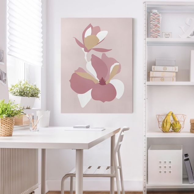 Leinwandbild - Line Art Blüten Pastell Rosa - Hochformat 4:3
