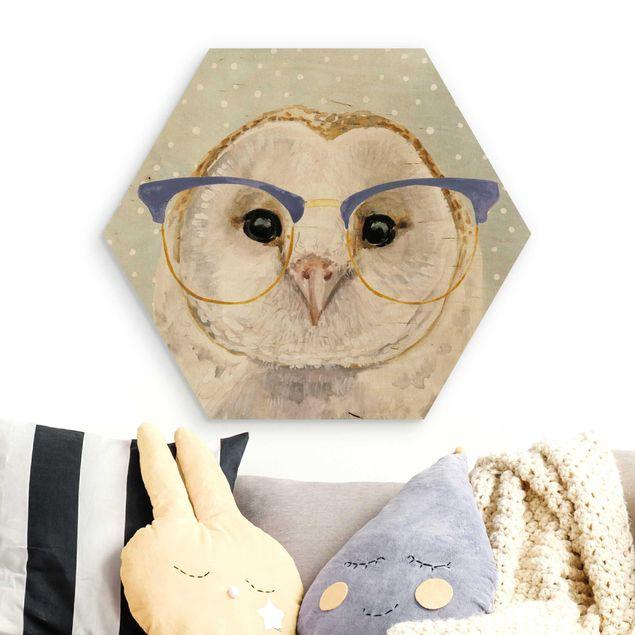 Hexagon Bild Holz - Bebrillte Tiere - Eule