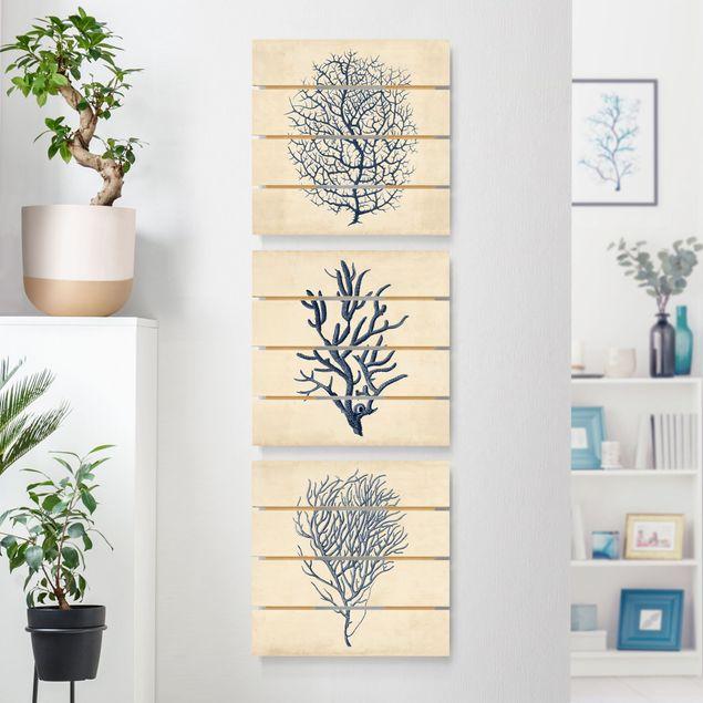 Holzbild 3-teilig - Indigo Koralle Set I - Quadrate 1:1