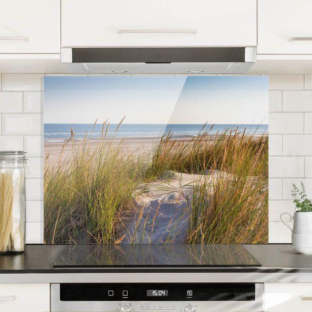 Glas Spritzschutz - Stranddüne am Meer - Querformat - 4:3
