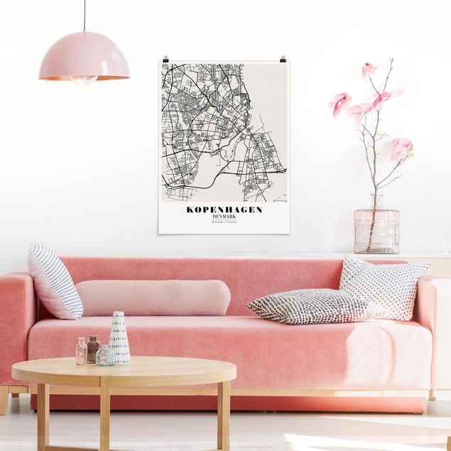 Poster - Stadtplan Kopenhagen - Klassik - Hochformat 3:4