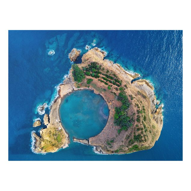 Forex Fine Art Print - Luftbild - Die Insel Vila Franca do Campo - Querformat 3:4